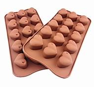 15 Hole Heart Shape Cake Ice Jelly Chocolate Molds,Silicone 21×10.5×2.5 CM(8.3×4.1×1.0INCH)