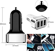 3-USB Car Cigarette Lighter Power Adapter for Smartphones and Tabs (Samsung S2/S3/S4/S5/Note2, iPhone,Assorted Colors)