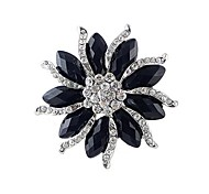 cheap -2014 New Arrivals Women Chunky Black Gemstone Flower Shaped Rhinestone Brooch