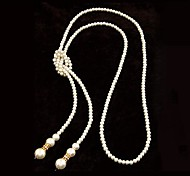 cheap -Women's Flower Pearl Pearl Necklace Y-Necklace  -  Silver Necklace For Party / Evening Daily