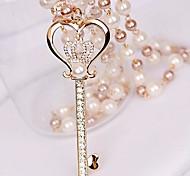 Women's Small Diamond Crown Key Pearl Love Necklace
