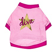 cheap -Cat Dog Shirt / T-Shirt Dog Clothes Breathable Stars Pink Costume For Pets