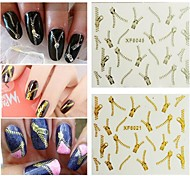 5PCS Zipper Nail Art Stick Gold / Silver to Choose