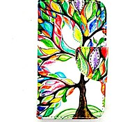KARZEA™Life Tree PU Leather TPU Back Painting Card Holder Wallet Case with Oval Buckle for iPhone 4/4S