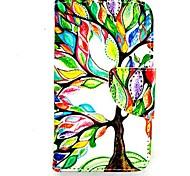 древо жизни karzea ™ искусственная кожа Вернуться ТПУ живопись держателя карты бумажник случае с овальной пряжкой для iPhone 4 / 4s