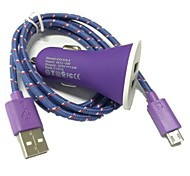 1M 3.3FT 2-Port USB Car Charger and Micro USB Cable for Samsung Galaxy S4 S3 NOTE 2 i9500(Assorted Color)