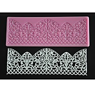 abordables -cuatro c color de molde de pastel fondant almohadilla hornear tapete de silicona de encaje decoración de color rosa