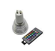 Недорогие -3 Вт. / lm GU10 Точечное LED освещение 3 светодиоды На пульте управления RGB AC 220-240V