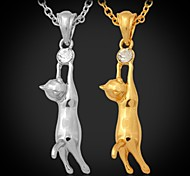 cheap -U7® Hot Lovely Girl's 18K Gold Plated Austrian Rhinestone Cute Kitty Cat Necklace Pendant Jewelry for Women High Quality