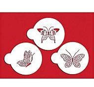 Недорогие -четыре с пластиковой трафарет комплект верхней украшения для торта чашки белого цвета, 3шт / комплект ST-569
