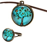 cheap -Women's Leather Jewelry Set Rings / Necklace - Blue For Party / Daily / Casual