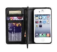 iPhone 4/4S/iPhone 4 - Gehäuse mit Kickstand/Hüllen (Full Body) - Volltonfarbe/Spezial-Design (Schwarz , PU-Leder/Kunststoff)