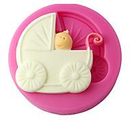 abordables -quatre c chariot silicone gâteau moule bébé fondant moule, décoration de gâteau, des outils de décoration fournit fondant couleur rose