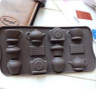 moda 12 buche tazza di tè orologio teiera diy torta silicone strumenti di cottura del cioccolato muffa del ghiaccio di decorazione cucina