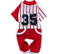 Dog Jumpsuit Jersey Dog Clothes Sports Stripe Red Blue Costume For Pets