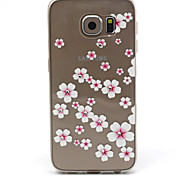 Samsung Galaxy S6 Compatible Pink Flowers with Diamante Design TPU Soft Back Cover Case
