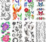 12PCS Mixed Patterns Temporary Tattoos Sticker Women Girl Flower Tattoos Arm Neck Tattoos