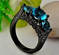 High Quality Fashion Women's Black Gold 10 KT Water Three Round Diamond Blue Zircon Ring