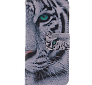 White Tiger Design PU Leather Full Body Case with Stand and Card Slot for Samsung Galaxy S4 Mini I9190