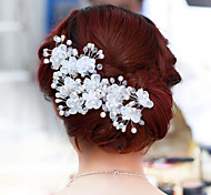cheap -Pearl Crystal Fabric Alloy Tiaras Flowers 1pc 1 Wedding Party / Evening Headpiece