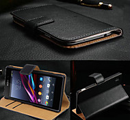 cheap -BIG D Black Genuine Leather Flip Full Body Case for Sony Xperia Z3
