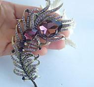 Women Accessories Gold-tone Purple Rhinestone Crystal Peacock Feather Brooch Art Deco Brooch Bouquet Women Jewelry