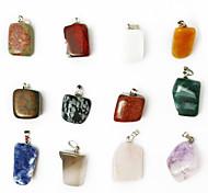 beadia 24pcs смешанный цвет натуральный драгоценный камень бисер очарование кулон ассорти неправильной формы каменные подходят подвесные