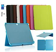 Для Кейс для  Samsung Galaxy со стендом / Флип / Оригами Кейс для Чехол Кейс для Один цвет Искусственная кожа Samsung Tab 4 10.1