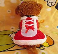 Собака Платья Одежда для собак Рождество Белый/Красный Костюм Для домашних животных