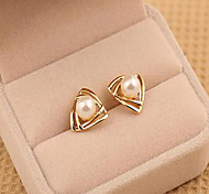 cheap -Women's Pearl Geometric Stud Earrings - Pearl, Imitation Pearl Gold / White For