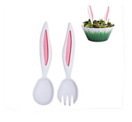 Rabbit Ears Spoon Fork Tablespoon Fruit Forks Spoon Salad Children's Tableware Dinnerware Set of 2 Random Color