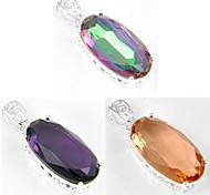 feriado do arco-íris de fogo oval místico Morganite topázio ametista jóia 925 pingentes de prata para colares para festa de casamento 1pc