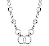 preiswerte -Damen Sterling Silber Zirkon Silber Halsketten Stränge Halskette Statement Ketten  -  Modisch Kreisform Geometrische Form Weiß Modische