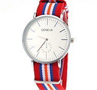 Unisex Casual Fabric Strap Silver Case Quartz Wrist Watch Cool Watch Unique Watch Fashion Watch