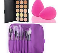 cheap -15 Colors Contour Face Cream Makeup Concealer Palette + 7PCS Purple Makeup Brushes Set Kit + Powder Puff