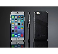 For iPhone 8 iPhone 8 Plus iPhone 6 iPhone 6 Plus Case Cover Card Holder Back Cover Case Solid Color Hard Genuine Leather for Apple