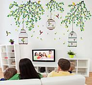 Недорогие -стены стикеры стены наклейки стиль зеленые ветви на клетке пвх стены стикеры
