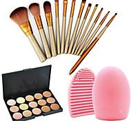 Недорогие -12pcs профессиональные косметические кисти макияж комплект + 15colors корректор Палитра + 1шт инструмент для чистки щетки