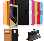 cheap -Case For Huawei Honor 7 Huawei Huawei Case Card Holder Wallet with Stand Flip Full Body Cases Solid Color Hard PU Leather for Huawei