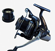 cheap -EXcellent 14 Ball Bearings  10000size 4.1:1  Surf fishing  reel  Spinning Reels fishing rolls sea metal reel Exchangable
