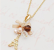cheap -Women's Cross Tower Bowknot Shape Classic Ethnic Bohemia Romantic Pendant Necklace Pearl Necklace Pearl Imitation Pearl Rhinestone Alloy