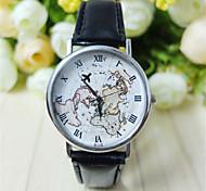 Unisex World Map Style Watch/Vintage World Map/Antique World Map/ Ladies Watch/ Women Premium Faux Leather Fashion Wrist Watch Cool Watch Unique Watch