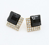 Stud Earrings Drop Earrings Cubic Zirconia Platinum Plated Alloy Fashion White Black Pink Jewelry 1set