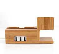 3 in 1 Bamboo Wood Charging Stand Bracket Docking Station Holder with USB Output for iPhone iWatch