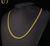 cheap -Men's Women's Stainless Steel Silver Plated Gold Plated Chain Necklace - Vintage Cute Party Work Casual Hip-Hop Fashion Rock Gold White