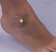 cheap -Pearl - Women's Screen Color Vintage Cute Party Work Casual Fashion Simple Style Pearl Alloy Anklet For Daily