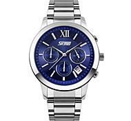 SKMEI Men's Sport Watch Calendar Chronograph Water Resistant / Water Proof Stopwatch Quartz Japanese Quartz Stainless Steel Band Silver