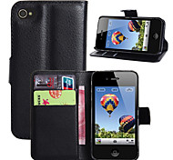 cheap -Fashion Wallet Case Flip Leather Case Cover Stand With Card Holder for iPhone 4 4s (Assorted Colors)