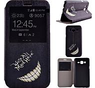Für Samsung Galaxy Hülle mit Halterung / mit Sichtfenster Hülle Handyhülle für das ganze Handy Hülle Schwarz & Weiß PU - Leder SamsungJ7