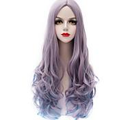 Vogue Gray Gradient Blue Long Curl Wavy U Part Hair Harajuku Purecas Lolita Fashion Party Women Girl Synthetic Wigs